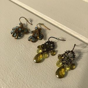 Small Gold & Green Dangle Earrings